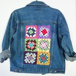 OOAK Vintage Denim Granny Square Jacket